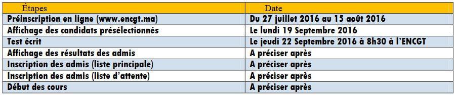 calendrier passerelle 5 ENCG Tanger 2016