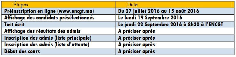 calendrier passerelle 7 ENCG Tanger 2016